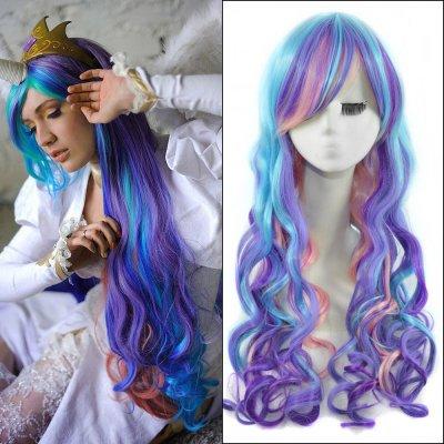 65cm Mixed Color Long Wavy Anime My Little Pony Princess Celestia Cosplay Harajuku