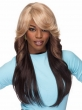 20inch Brown long wavy wigs for black women, multi colored wigs with inclined bangs