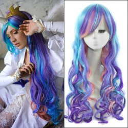 65cm Mixed Color Long Wavy Anime My Little Pony Princess Celestia Cosplay Harajuku