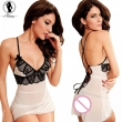 2017 New lace splice V-neck babydoll sexy lingerie hot straps cross bundled backless