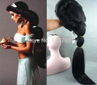 Anime Aladdin Jasmine princess Long Black Wig,classic halloween women Cosplay Wig