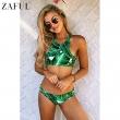 ZAFUL Plus Size 2017 High Neck Leaf Print Stringy Bikini Set Women Summer Beach
