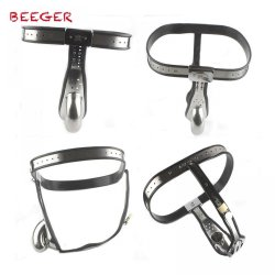 BEEGER Male Chastity Belt mens Stainless Steel Chastity cage with Removable Anal