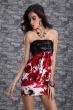 red stapless dress with