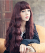 Women Fashion Sexy Natural wine color Wig Cosplay Anime Long Wavy Curly Ladies Costume