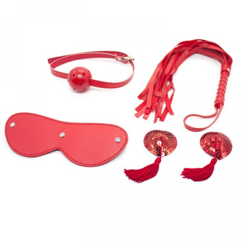4 Pcs / Lot Bdsm Bondage Set Whip Gag Ball Eye Mask Nipple Stickers Fifty Shades