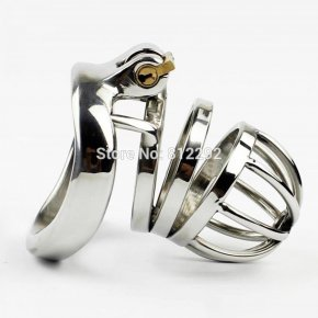 Stainless Steel Male Chastity Belt Adult Cock Cage With arc-shaped Cock Ring Sex
