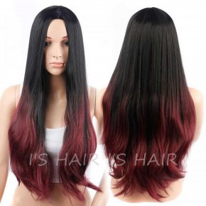 Long Wavy Ombre Wig Resistant Synthetic Fake Hair Wigs For Black Women Cheap 28