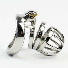 Stainless Steel Small Male Chastity Belt Adult Cock Cage With arc-shaped Cock Ring
