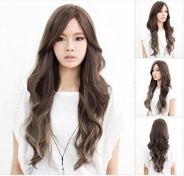 Women Fashion Sexy Natural Black Wig Cosplay Anime Long Wavy Curly Ladies Costume