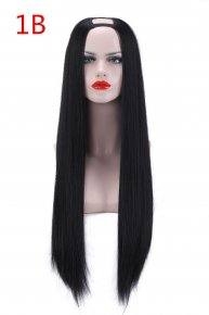 Xmas 1PC U Part Wig Synthetic Hair Half Wigs Natural Long Straight Wig High Temperat