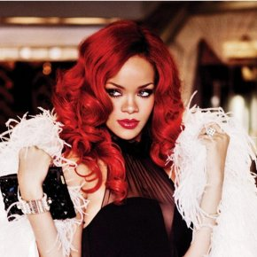 Rihanna New Hairstyle Long Curly Red Clour Synthetic Full Wig Afro African American
