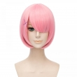 New!! Re:Life In A Different World From Zero Rem/Ram Cosplay Wig Blue/Pink Short