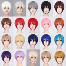 Anime Cosplay Beautiful Short Synthetic Wig 20 Colors