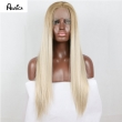 Natural Fashion Ombre Blonde Long Silk Straight Synthetic Lace Front Wig Full Gluele