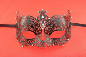 Elegant Metal Laser Cut Venetian Ball Masquerade Mask Fashion Shows Party Black