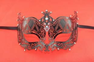 Elegant Metal Laser Cut Venetian Ball Masquerade Mask Fashion Shows Party Black