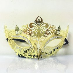 golden Phantom Metal Rhin Laser Cut Halloween Masquerade Costume Half Mask Sexy