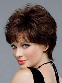 Hot Sale Resistant Synthetic Brown Short Hair wigs For Black Women Wavy Haircuts