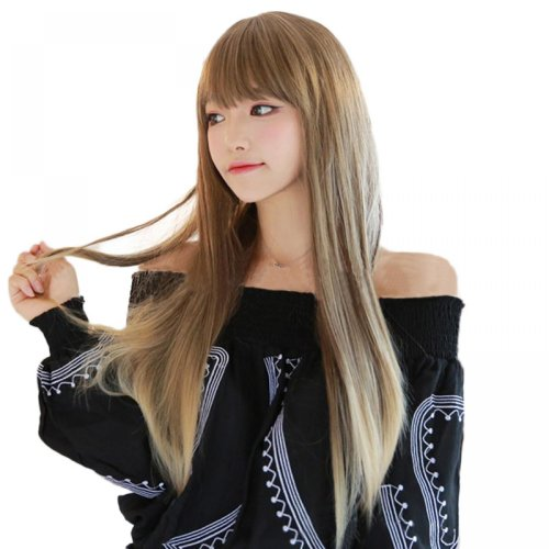 Fashionable Harajuku Curl Cosplay Wig Gradient light Gray linen Anime COS Women