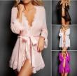 Sexy Women Lace See-through Nightwear Nightgown Sets Underwear Lingerie Sets Sleepwear Robe