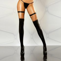 Black Imitation Leather Style Chain Decoration Sexy Silk Stockings Night Club Dance