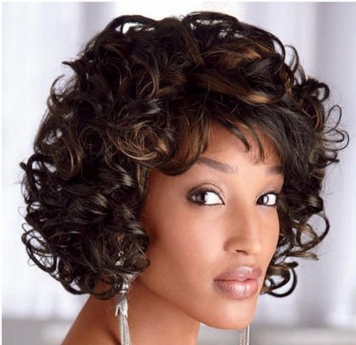 Celebrity Women Short Curly Wigs Synthetic Hair Wigs for African American Black