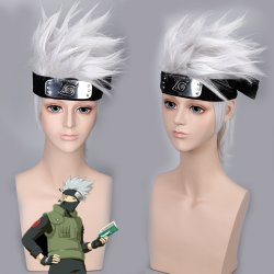 Anime NARUTO Hatake Kakashi Cosplay Wig Silver White Short Heat Resistant Sythentic Hair Wigs+headband