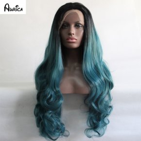Fashion Ombre Turquoise/Teal Bodywave Synthetic Lace Front Wig Glueless Natural