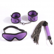bondage sex restraints kit: handcuffs, blindfold, leather whip flogger, velvet bed