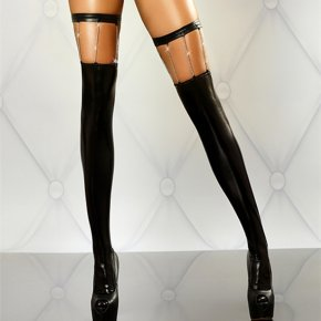 RK80057 Womens sexy faux leather stocking solid black with gold chain sexy stockings