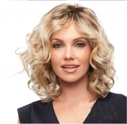 Mixed color gradient partial short curly hair wig
