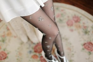 2015 Fashion Women Sexy Fishnet Silk Stockings False Tattoo Tights fresh pastoral