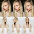 Fashion Natural Long Silk Straight Blonde Synthetic Lace Front Wig Glueless Ombre