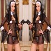2016 New Sexy Costume Women Cosplay Nuns Uniform Transparent Sexy Lingerie Exotic