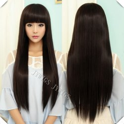 70CM Sexy Lady Long Straight Women Wig Black Cosplay Synthetic Fast Shipping Cute
