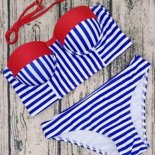 2017 New Summer Women Sexy Bikini Set Blue White Striped Swimsuit Bandeau Push Up
