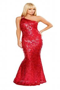 red sexy prom gown