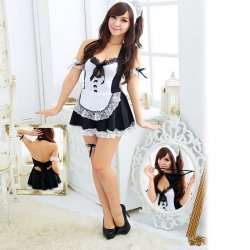 Sexy Lingerie Hot Waitress Erotic Uniform Lingerie Sexy Deep V-Neck Maid Cospla