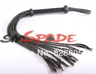 Spanking Real leather braided whip, Length:96cm, Braid Tails:9pics, sex toys adult