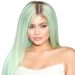 30Inches Kylie Jenner Green Omber Long Straight Wigs Fashion Party Synthetic Women