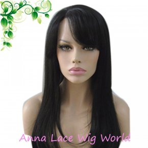 Synthetic Black 55cm Natural Straight Women Lace Wig