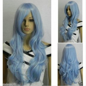 Long Curly Wavy Cosplay Wig Costume Party Resistant Synthetic Light Blue Wigs Women