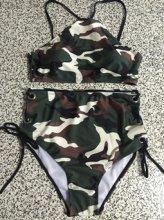 2017 Summer newest Camouflage push up high neck bikinis set high waist grommet strap