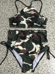2017 Summer newest Camouflage push up high neck bikinis set high waist grommet strap