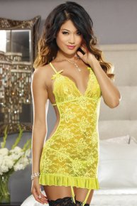 yellow lingerie with garter