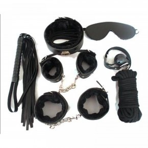 Adult Game 7-pcs Set Handcuffs Gag Clamps Whip Collar Erotic Toy Leather Fetish