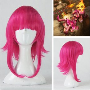Game LOL Annie Hastur Character 45cm Rose Red Heat Resistant Hair Cosplay Costume Wig + Free Wig Cap