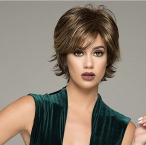 Brown Mixed Blonde Color Short Layer Nature Curly with Bangs Synthetic Wig