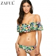 ZAFUL 2017 Women Sexy Off The Shoulder Floral Print Flounce Bikini Set Swimsuit